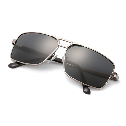 Polarized Sunglasses For Men Driving Rectangle Al-Mg Metal Frame Ultra Light 100% UV protection (Gun) ()