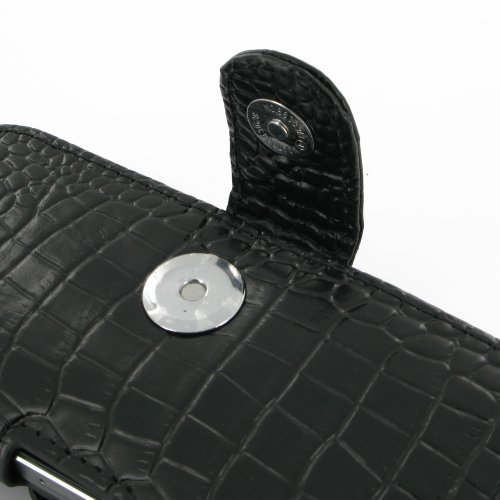 Apple iPhone 5s Leather Case / Cover (Handmade Genuine Leather) - Horizontal Pouch Type (Black/Crocodile Pattern) by Pdair