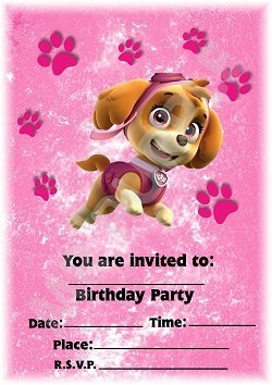 PAW PATROL SKYE BIRTHDAY PARTY INVITATIONS INVITES WITH OR WITHOUT ENVELOPES