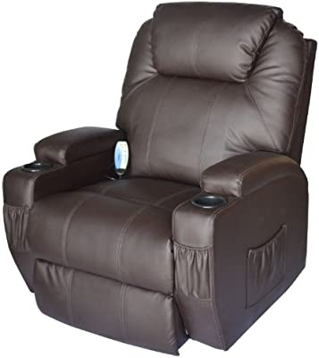 Superbe HOMCOM Massage Heated PU Leather 360 Degree Swivel Recliner Chair With  Remote   Brown