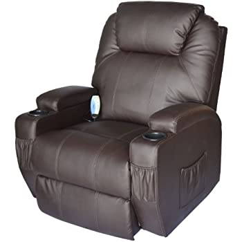 HomCom Massage Heated PU Leather 360 Degree Swivel Recliner Chair With  Remote   Brown