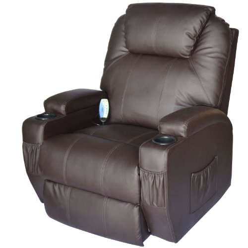 Leather Deluxe Recliner (HomCom Massage Heated PU Leather 360 Degree Swivel Recliner Chair with Remote - Brown)