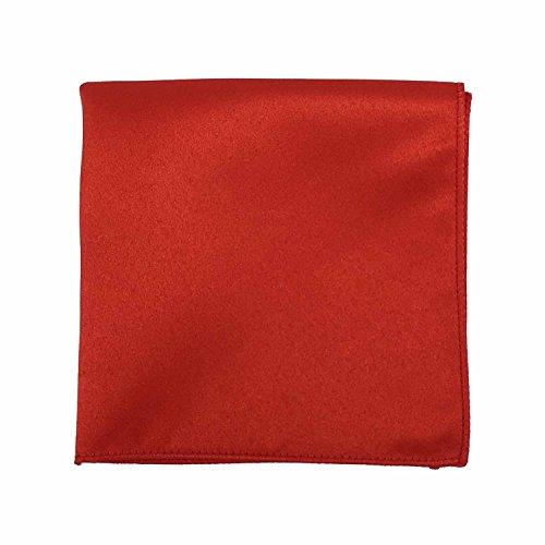 Spencer J's Satin Pocket Squares Handkerchief Boys and Mens (Red) (Pocket Handkerchief Red)