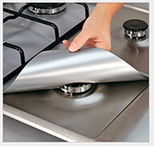 Lingstar 4PCS Non-Stick Gas Range Protectors Reusable Aluminum Foil Gas Stove Burner Cover Protector Liner Clean Mat - Burner Range Grill Gas Open