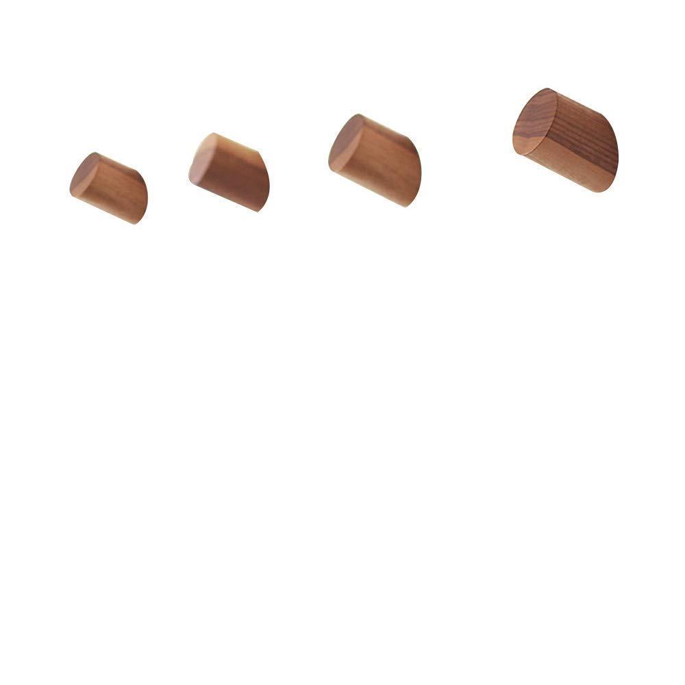 Natural Wooden Coat Hooks, Wall Mounted Single Wall Hook Rack, 2Pcs Decorative Craft Clothes Hooks (Beech Wood)