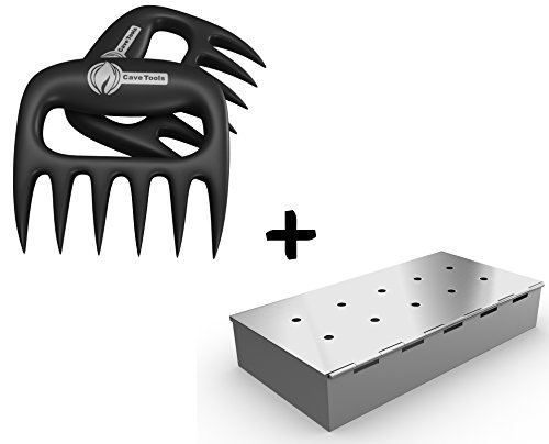 Meat Claws + Smoker Box for BBQ Grill Wood Chips - 25% THICKER STAINLESS STEEL WON'T WARP - Charcoal & Gas Barbecue Smoking with Hinged Lid - Grilling Accessories & Utensils Gift for Dad