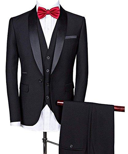 Fitty Lell Men's Suit Slim Fit Formal Tuxedos One Button Suit Jacket Tux Vest & Trousers Set(38 Regular,Black)
