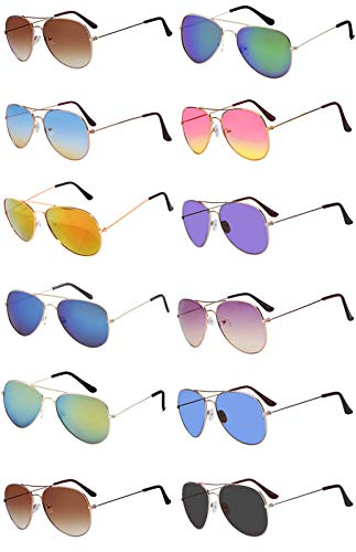 (12 Pairs Classic Aviator Sunglasses Metal Gold Silver Black Colored Mirror Lens OWL (Aviator_Mix_Colored_Lens,)