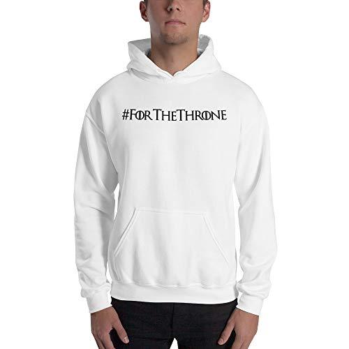For The Throne Black Logo Hoodie Funny TV Inspired Winter Is Coming Jumper Pullover Hooded Fleece Sweatshirt Adult Humor Joke Hood