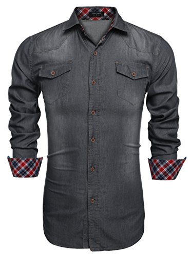 Aulei Herren Jeanshemd slim fit aufwendiges Denim Shirt Langarm used look
