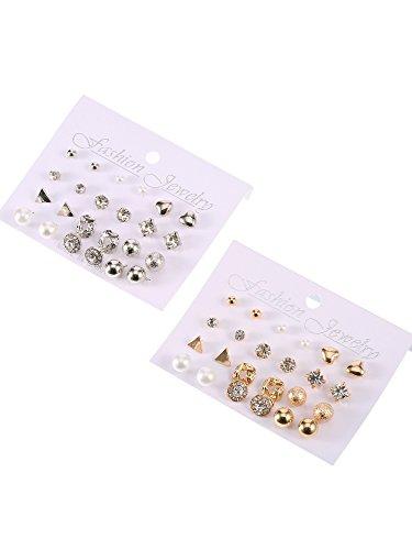 0ab6272db71fd4 BBTO 24 Pairs Stud Earrings Crystal Pearl Earring Set Ear Stud Jewelry for Girls  Women Men