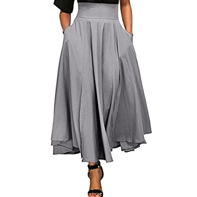 VEZAD High Waist Pleated A Line Long Skirt Women Front Slit Belted Maxi Skirt