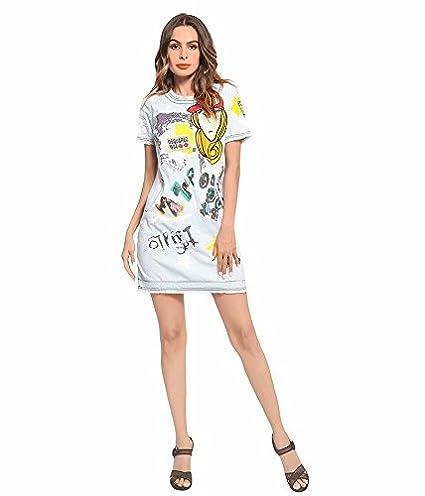 NSSBZZ Mujer Hermosa El Uso De Mujeres Vestimenta Nueva Caricatura Vestidos Vaqueros De Arpillera Blanca Falda