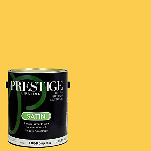 Sherwin Williams Satin (Prestige Paints Exterior Paint and Primer In One, 1-Gallon, Satin,  Comparable Match of Sherwin Williams Decisive Yellow)