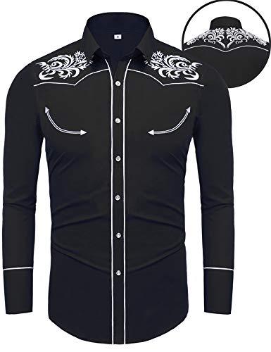 Daupanzees Men's Casual Button Down Shirt Blouse Long Sleeve Western Cowboy Shirts Embroidery Dress Shirt(Black (Western Shirt Blouse)