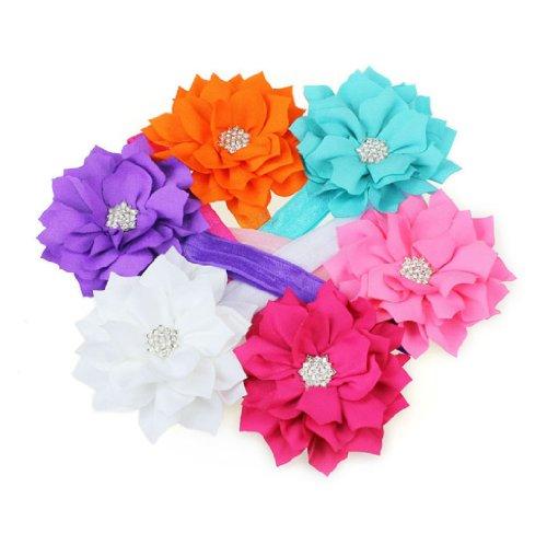 Poodo (TM) 6 Pièces récents Babys Stylish Girls Bandeau Head Porter cristal Fleur de Lotus Hairband