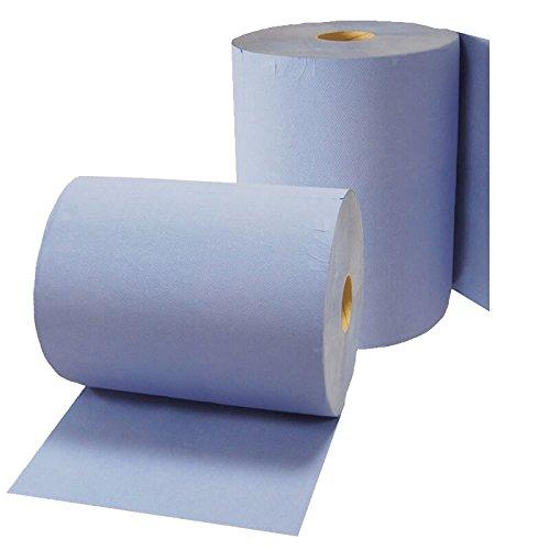 2x Putzrolle Komfort (3-lagig) 1000 Abrisse in blau, Papier-Rolle, Putztuch, Putzpapier FRONTTOOL