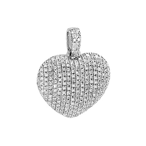 Women's 0.35 Ct Round Cut Natural Diamond Puffed Heart Pendant Necklace 14K White Gold