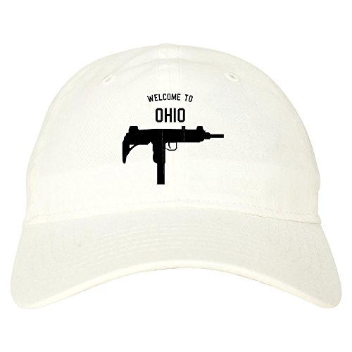 Welcome To Ohio Uzi Sub Machine Gun 6 Panel Dad Hat White (Ohio Machine)