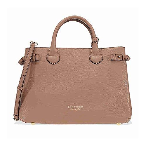 Burberry borsa donna a mano shopping in pelle nuova banner tote marrone