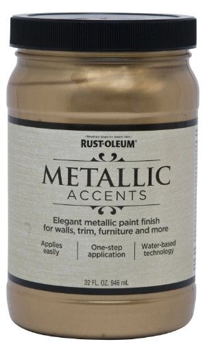 Rust-Oleum 253537 Metallic Accents Paint, Quart, Soft Gold