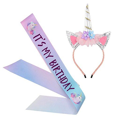 Unicorn Birthday Girl Set, Beinou Shiny Unicorn Headband and Birthday Girl Sash Set Perfect Unicorn Theme Birthday Party Supplies, -