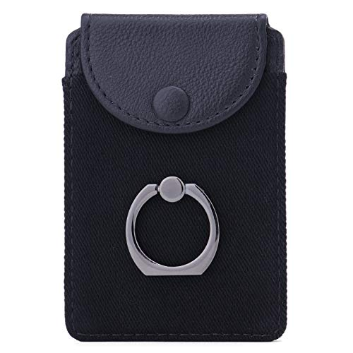 Finger Ring and Cell Phone Stick on Wallet Card Holder Phone Pocket for iPhone, Ultra-Slim Self Adhesive Credit Card Holder Wallet Cell Phone Leather Wallet Grip Kickstand for Smartphon (Finger Ring)