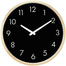 Hippih Silent Wall Clock Wood 12 inch Non Ticking Digital Quiet Sweep Decorative Vintage Wooden Clocks(Black)
