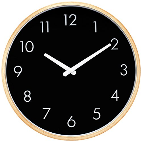 Hippih Silent Wall Clock Wood 12 inch Non Ticking Digital Quiet Sweep Decorative Vintage Wooden Clocks(Black)