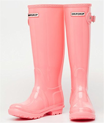 SHOCK Glossy Waterproof Fashion on Rain Pull Pink Footwear Rain top Women Boots Antiskid Mid ACE UdOTqU
