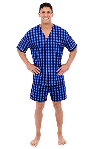 Alexander Del Rossa Mens Cotton Plaid Pajamas, Short V-Neck Woven Pj Set
