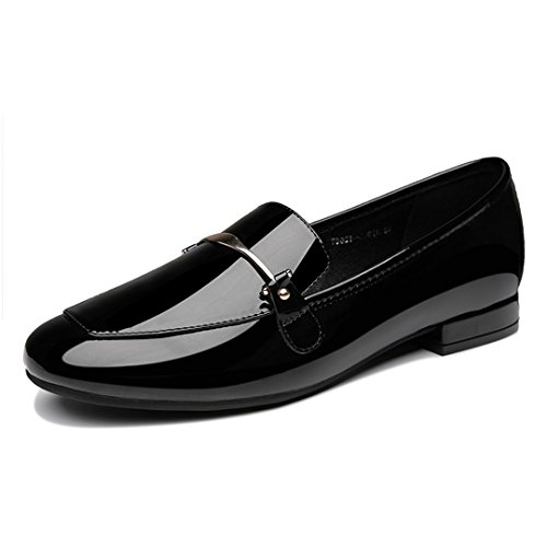 Womens Flats Patent Leather Rubber Sole Classic Loafers Slip-Ons Daily Walking Casual Shoes Black