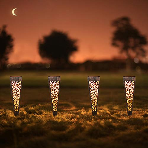 6Pcs Solar Lights Outdoor Decorative Pathway Garden Stakes Waterproof LED Pathway Lighting for Patio, Walkway, Lawn…