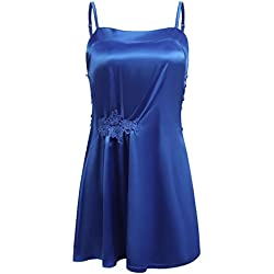 Elaver Ladies Mini Cami Sleepwear Satin Nightgown Full Slip Lingerie Dress (Royal Blue,L)