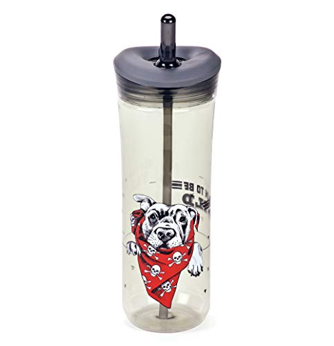 Q Me HAPPY DOGS GRAY BORN TO BE WILD Water Bottle: 25.4 Ounce Trendy Transparent Tritan Tumbler with Pet and Dog Theme, Lid and Built-in Straw for Kids