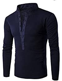 Men Solid-Colored Cotton Long Sleeve Button Henley Top Tees Tshirt
