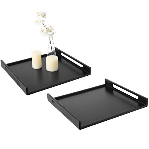 (MyGift Modern Square Matte Black Metal Serving Tray with Curved Cutout Handles - 16 x 16, Set of 2)