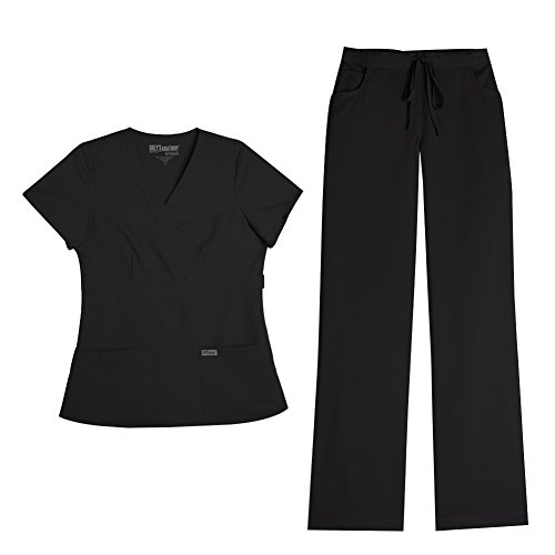 Grey's Anatomy Women's Mock Wrap Top 4153 & Drawstring Pant 4232 Scrub Set (Black - X-Large) by Barco