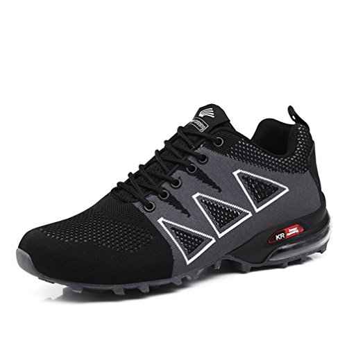 UTENAG Men's Running Shoes Sports Trail Trekking Athletic Outdoor Hiking Sneakers Casual with Air Cushion Size 12.0 D(M) US/EU 46 Black