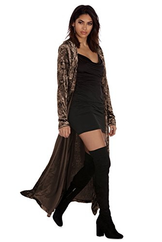 Veste Velours Femme Grandes Tailles Mode Cardigan Long Ample Manteau Automne Hiver