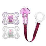 Animals 3 Piece Orthodontic Pacifier with Clip Value Pack, Girls, 0-6 Months