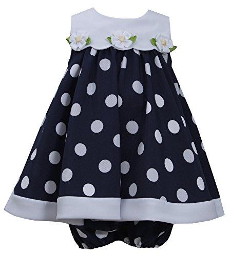 Bonnie Jean Girls Nautical Daisy Navy/White Dot Easter Dress, 0/3M