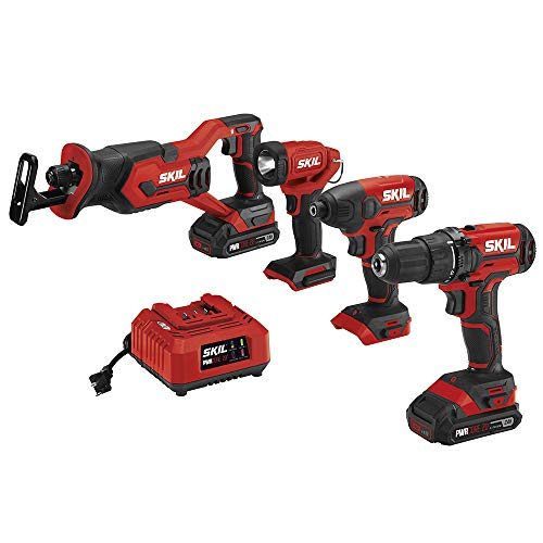 SKIL 4-Tool Combo Kit: 20V Cordless Drill Driver, Impact Driver, Reciprocating Saw and LED Spotlight, Includes Two 2.0Ah Lithium Batteries and One Charger – CB739601