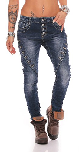 Fashion4Young - Jeans - Taille empire - Femme turquoise turquoise 38 10793-dunkelblau