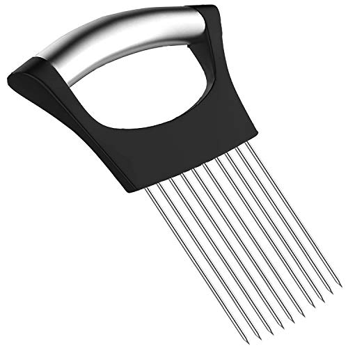Hulless Stainless steel Onion Holder for Slicing, Vegetable Potato Cutter Slicer, Onion cutting tool, Stainless steel Cutting Kitchen gadgets.