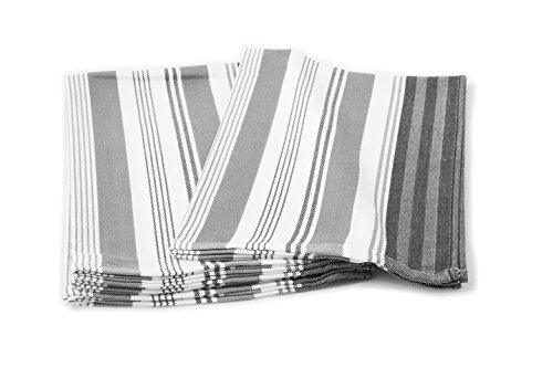 ZOLLNER® 4er-Set Geschirrtücher / Trockentuch grau-gestreift 50x70 cm, in weiteren Farben erhältlich,in Gastronomiequalität, Serie
