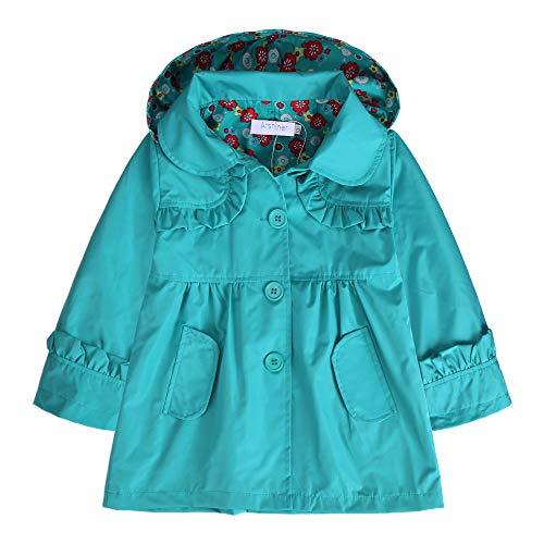 Arshiner Girl Kid Flower Waterproof Hooded Coat Jacket Outwear Raincoat Hoodies Blue,130(Age for 5-6Y)