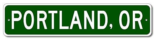 The Lizton Sign Shop Portland, Oregon U.S.A. Custom America Aluminum Metal City and State Name Sign - Green - 4