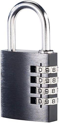 PEARL Zahlenschloss Spind: Vorhängeschloss aus Aluminium, mit 4-stelligem Zahlencode (Vorhängezahlenschloss)