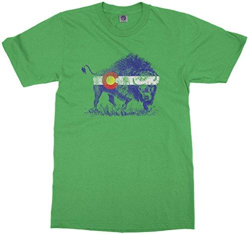 Threadrock Kids Buffalo Colorado Flag Youth T-Shirt L Grass Green
